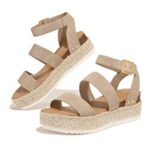 Shoes - Espadrille Sandals in Taupe